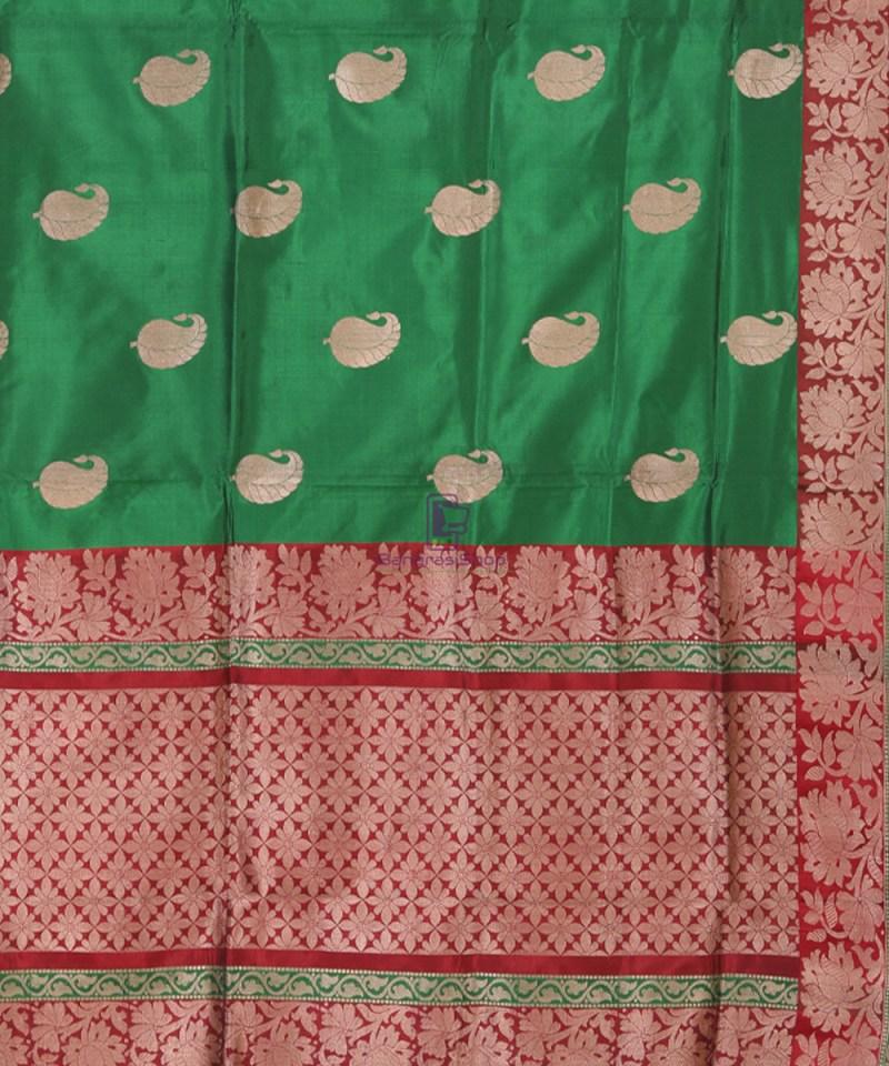 Banarasi Pure Katan Silk Handloom Bottle Green Saree 2