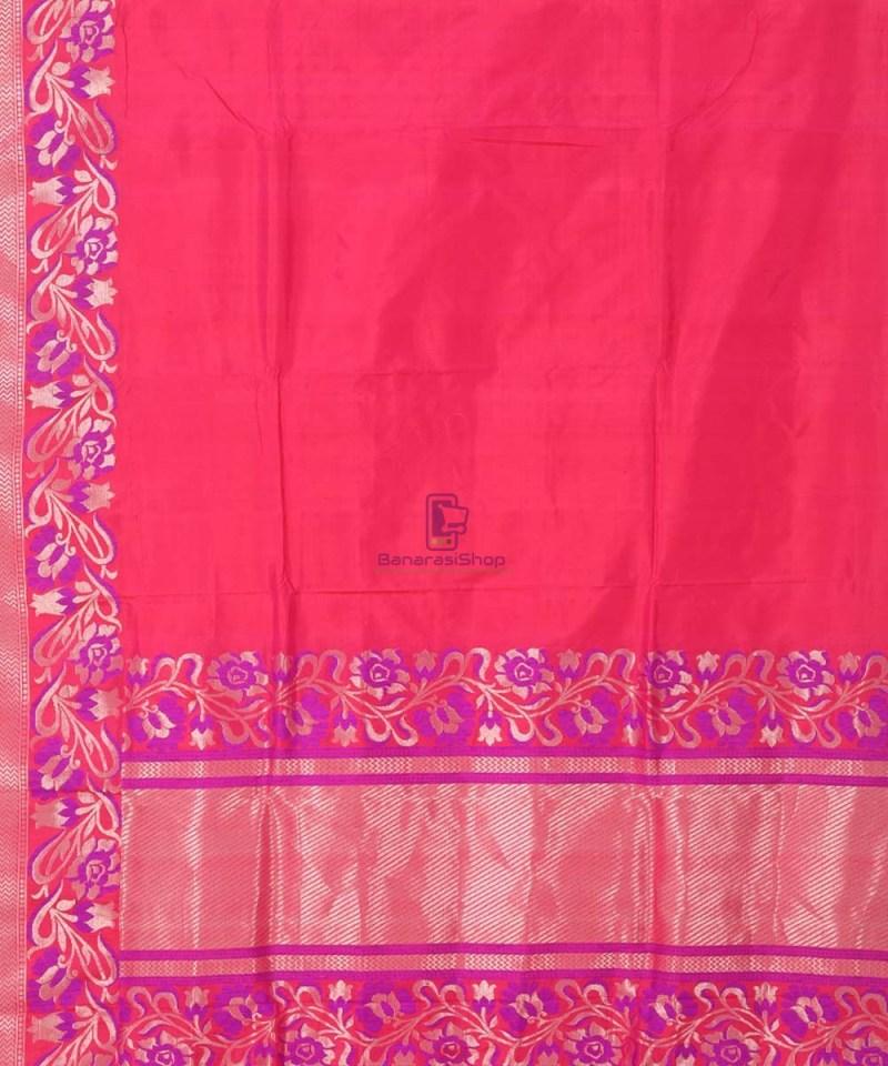 Banarasi Pure Katan Silk Handloom Strawberry Pink Saree 2