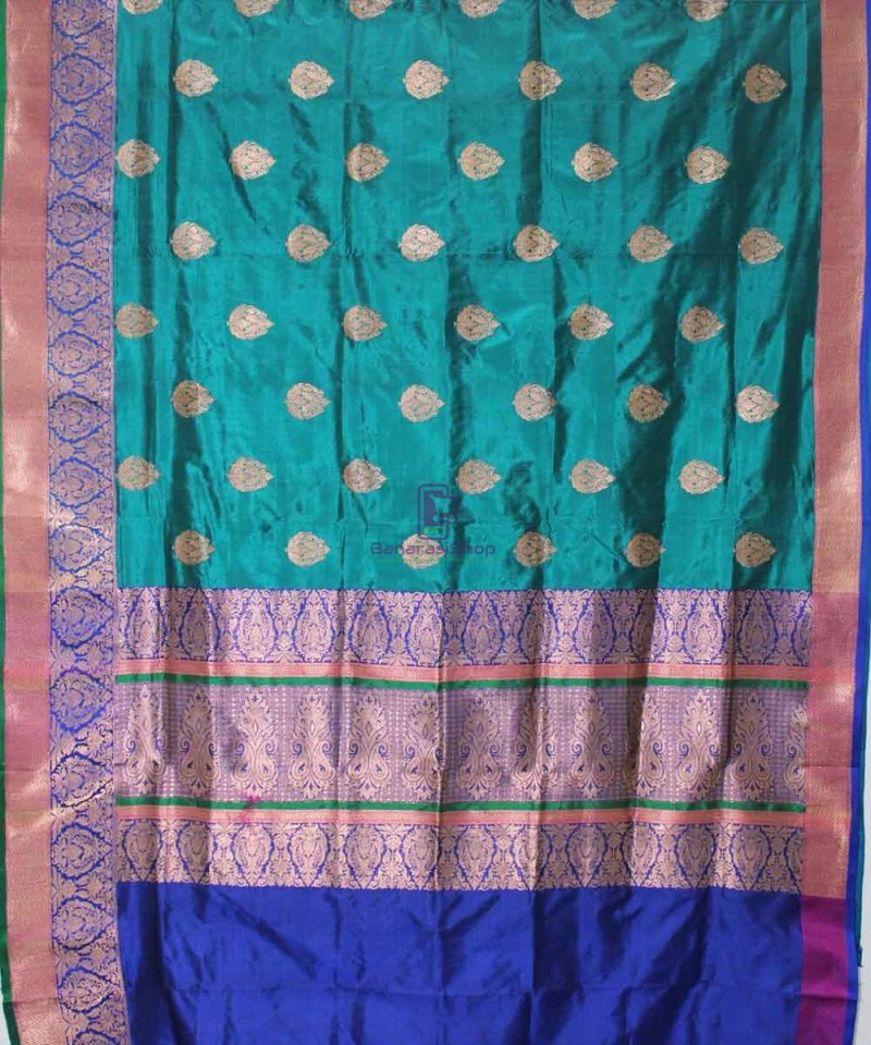 Banarasi Pure Katan Silk Handloom Green Saree 1