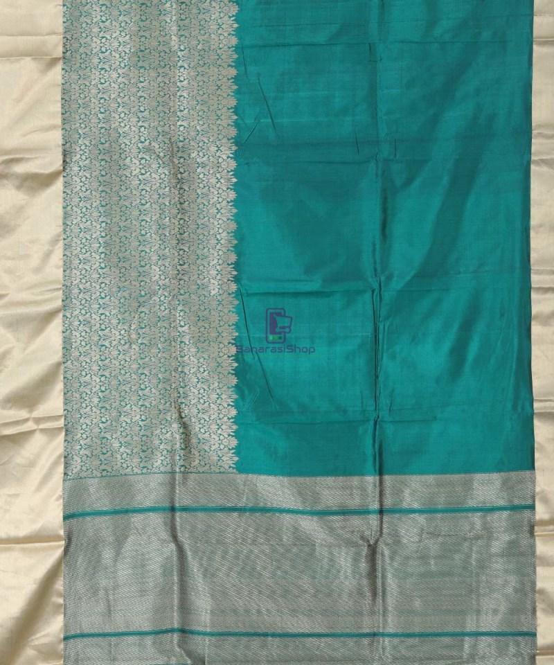 Banarasi Pure Katan Silk Handloom Pine Green Silk Saree 1