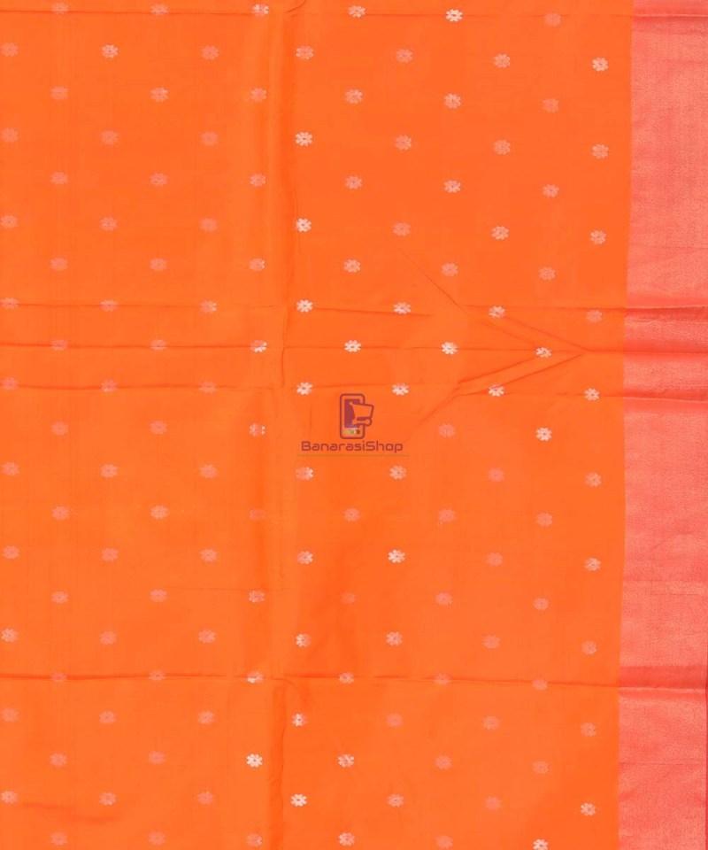 Banarasi Pure Katan Silk Handloom Orange Saree 2