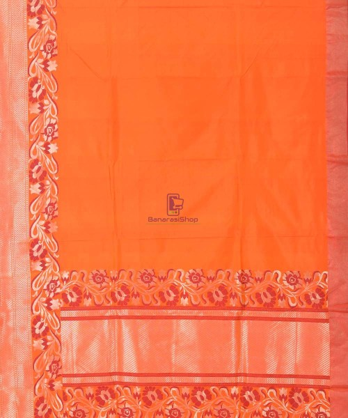Banarasi Pure Katan Silk Handloom Orange Saree 7