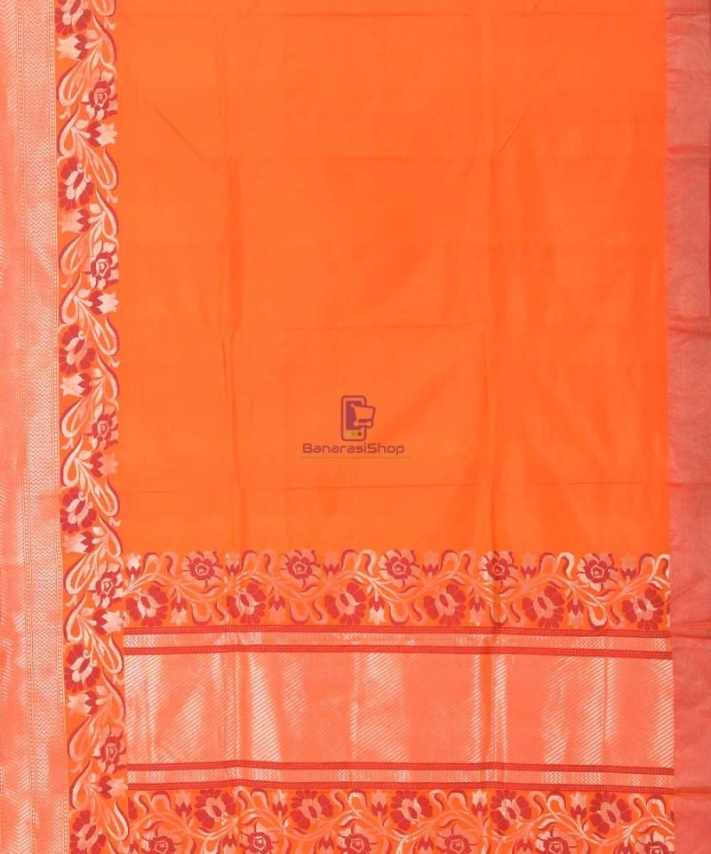 Banarasi Pure Katan Silk Handloom Orange Saree 4
