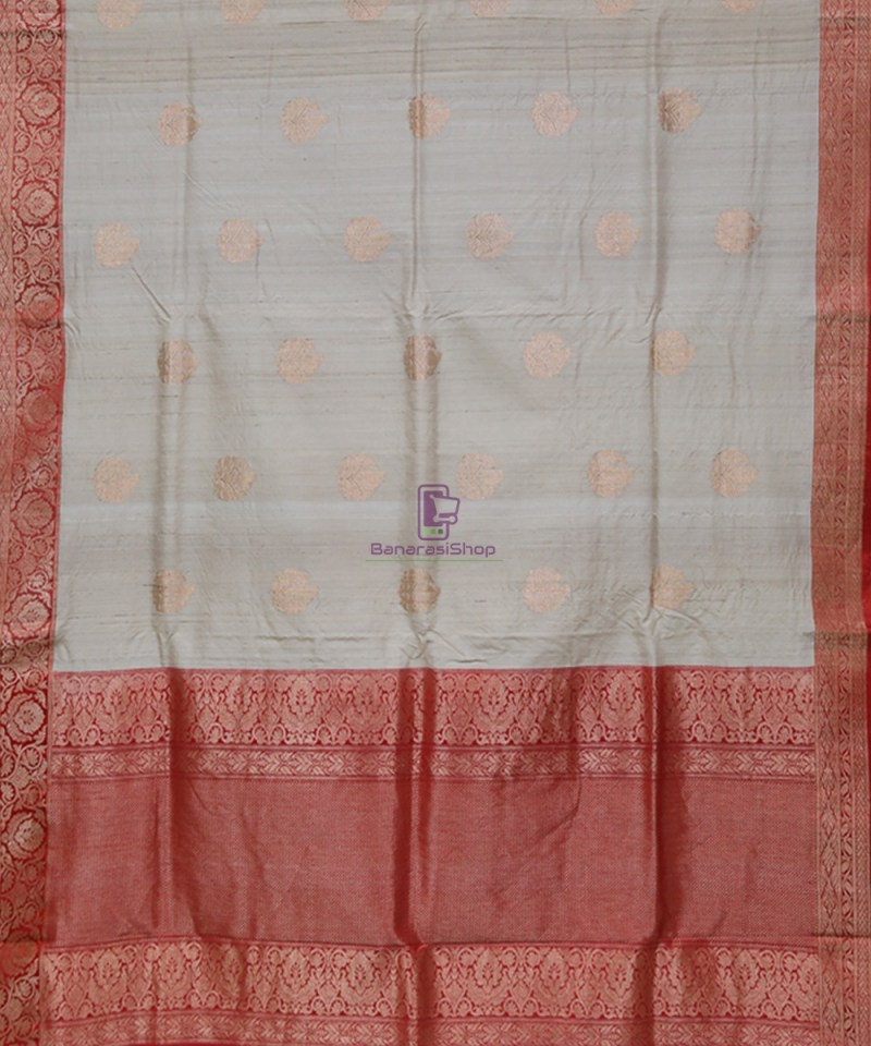 Pure Banarasi Tussar Handwoven Cloud Grey Silk Saree 1