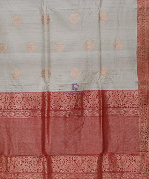 Pure Banarasi Tussar Handwoven Cloud Grey Silk Saree 5