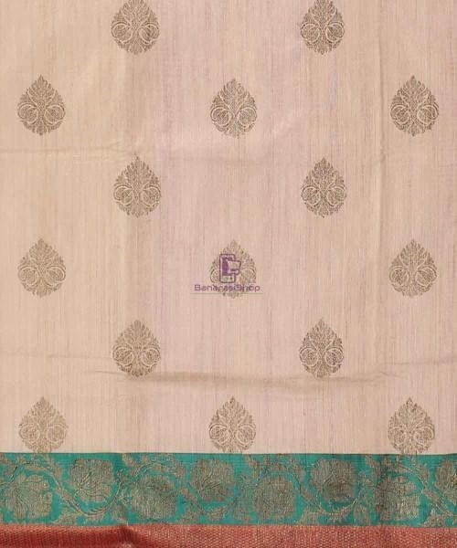Banarasi Pure Handloom Dupion Silk Cream Saree 4