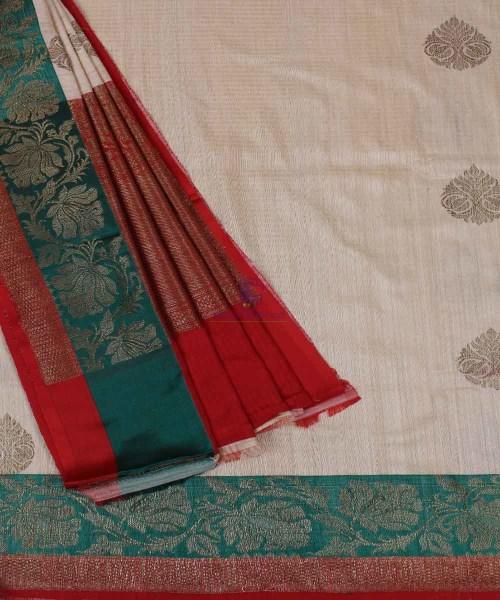 Banarasi Pure Handloom Dupion Silk Cream Saree 5