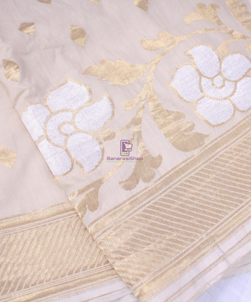 Handwoven Banarasi Muga Silk Saree in Natural Color 1