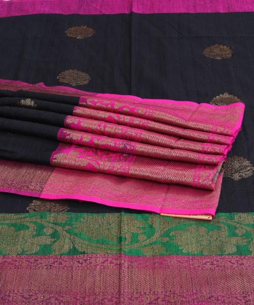 Banarasi Pure Handloom Dupion Silk Black Saree 7