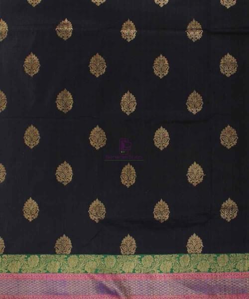 Banarasi Pure Handloom Dupion Silk Black Saree 4