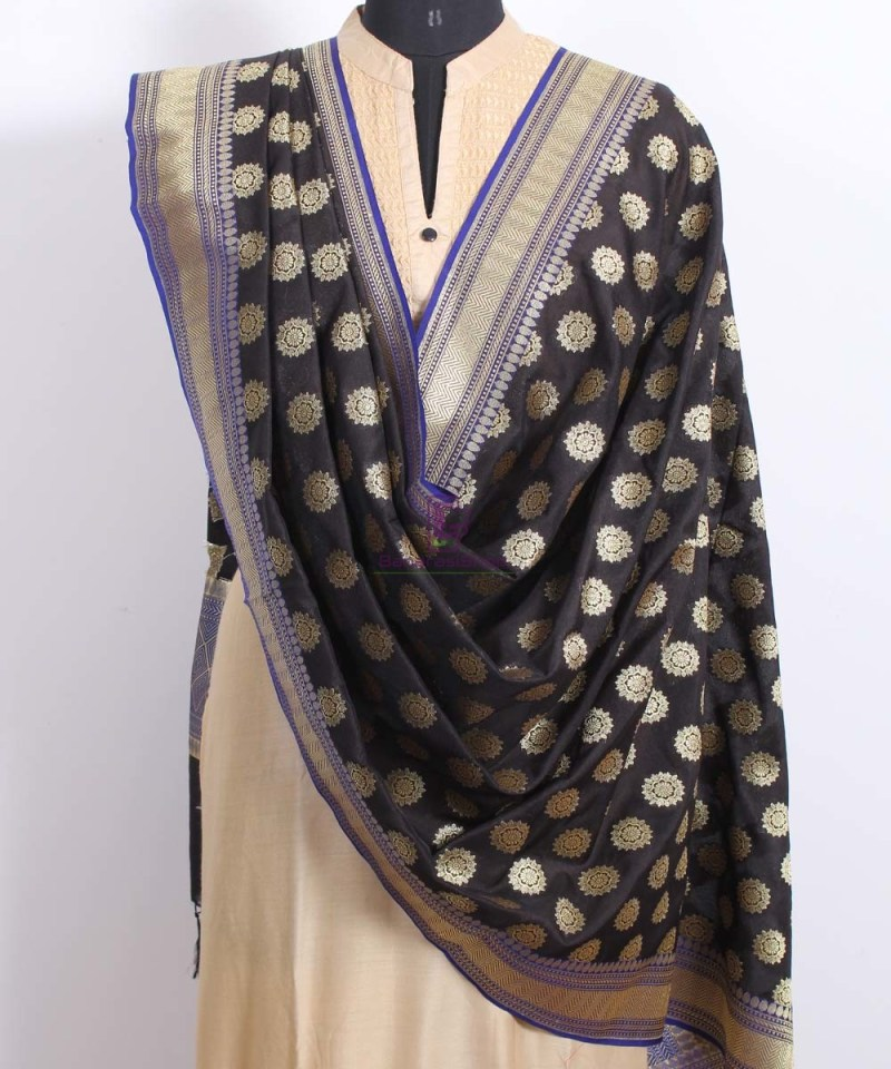 Banarasi Art Silk Black Dupatta 2