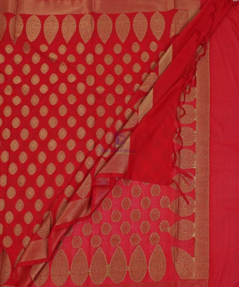 Banarasi Art Silk Antique Gold Zari Buti Dupatta in Red 3