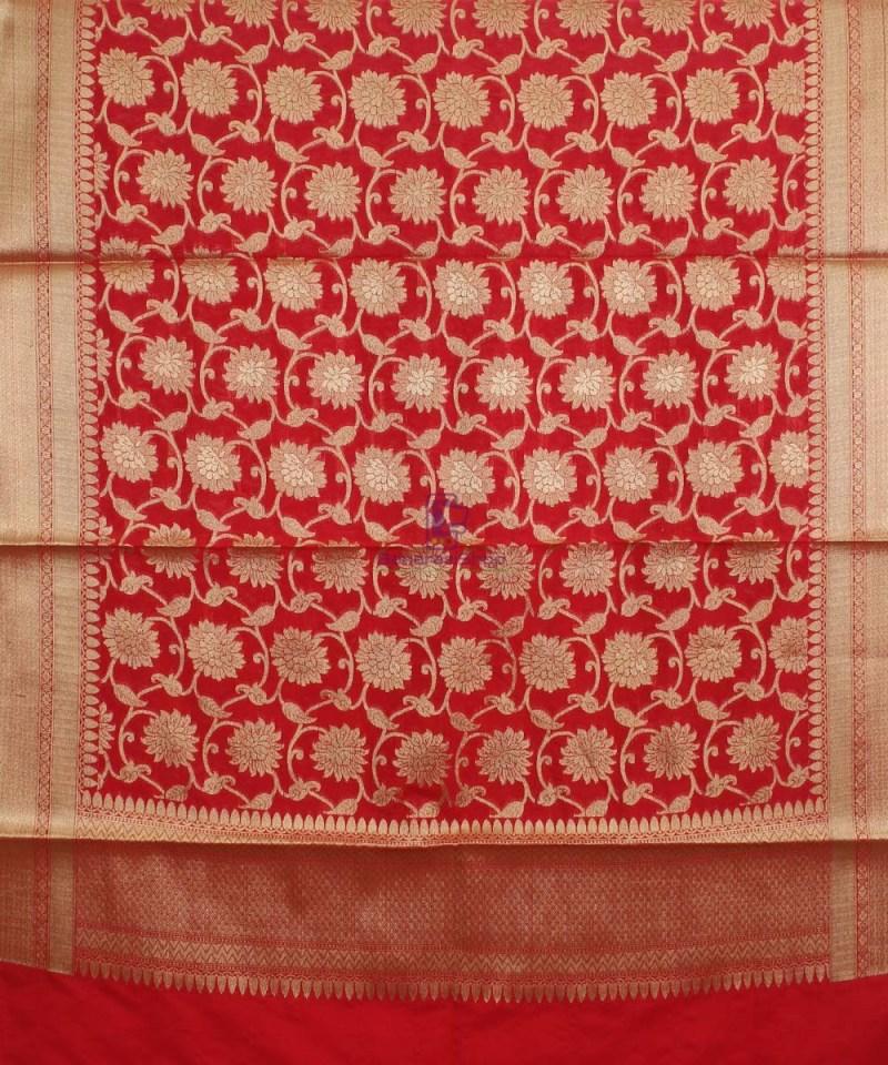 Banarasi Cotton Silk Jaal Red Dupatta 1