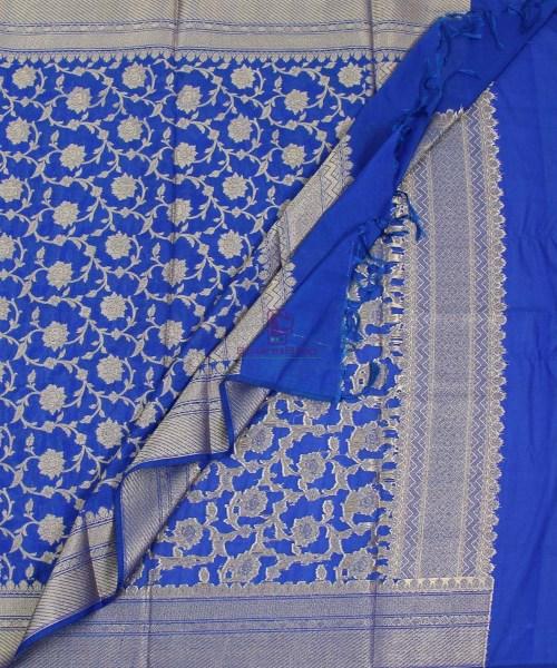 Banarasi Cotton Silk Jaal Royal Blue Dupatta 5