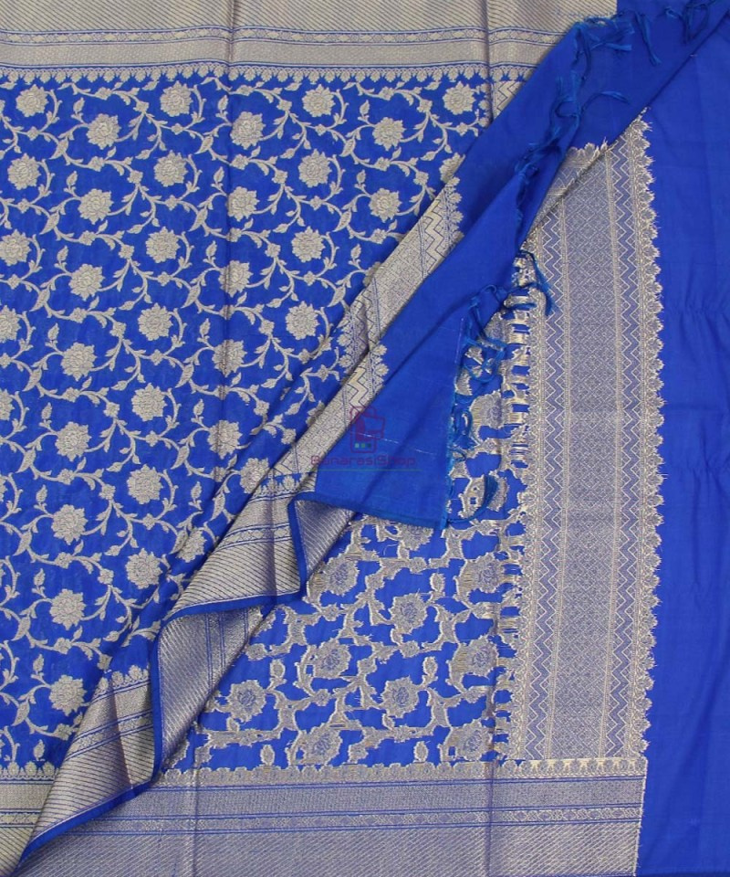 Banarasi Cotton Silk Jaal Royal Blue Dupatta 3