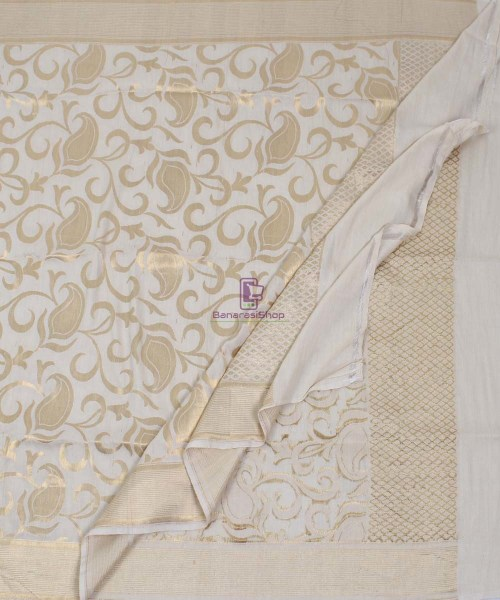 Handloom Banarasi Pure Muga Silk Dupatta in White 5