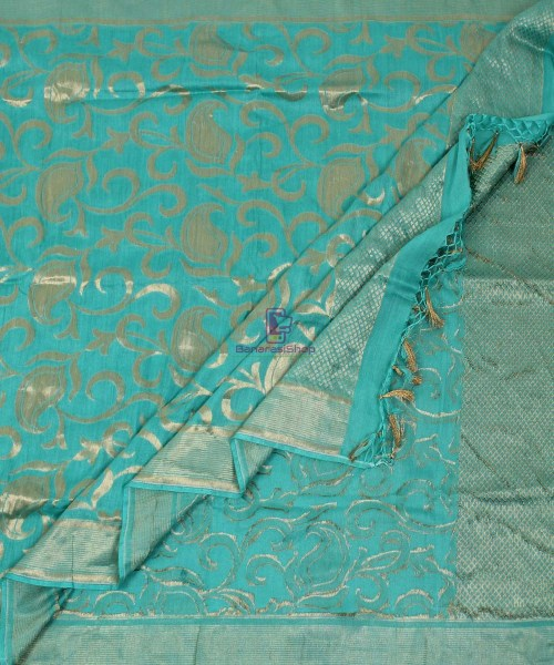 Handloom Banarasi Pure Muga Silk Dupatta in Sea Green 5
