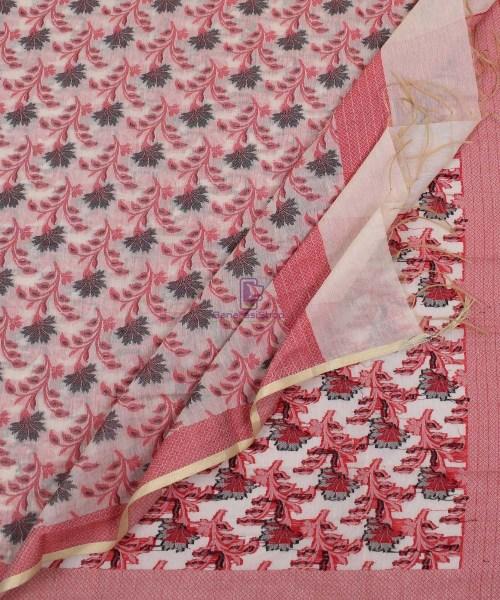 Banarasi Cotton Silk Red, Black and Beige Dupatta 5