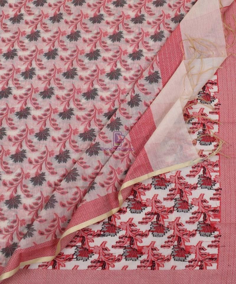 Banarasi Cotton Silk Red, Black and Beige Dupatta 3