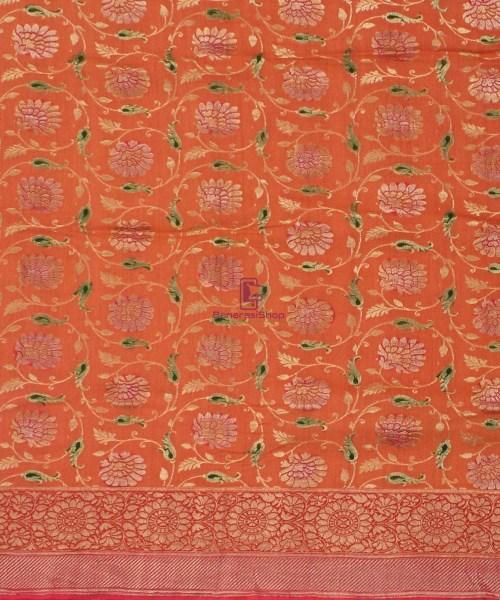Banarasi Pure Handloom Muga Orange Silk Saree 4