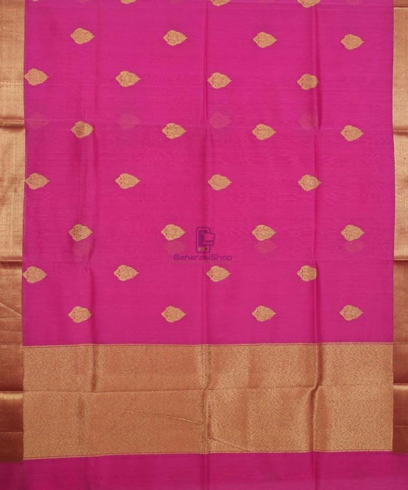 Banarasi Pure Handloom Silk Cotton Pink Saree 1