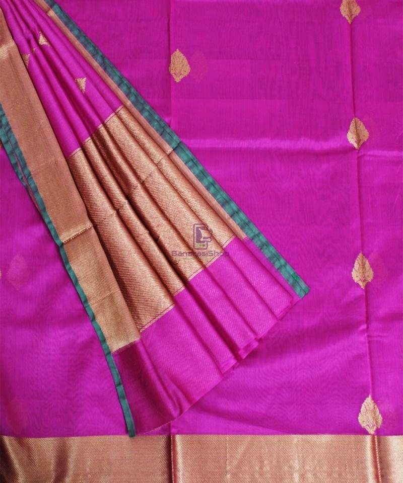 Banarasi Pure Handloom Silk Cotton Pink Saree 3