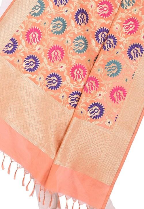 Woven Banarasi Art Silk Kimkhab Dupatta in Peach 4