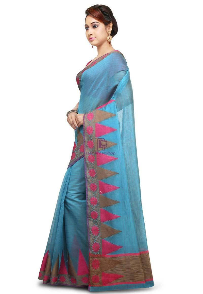 Woven Cotton Silk Saree in Light Blue 4