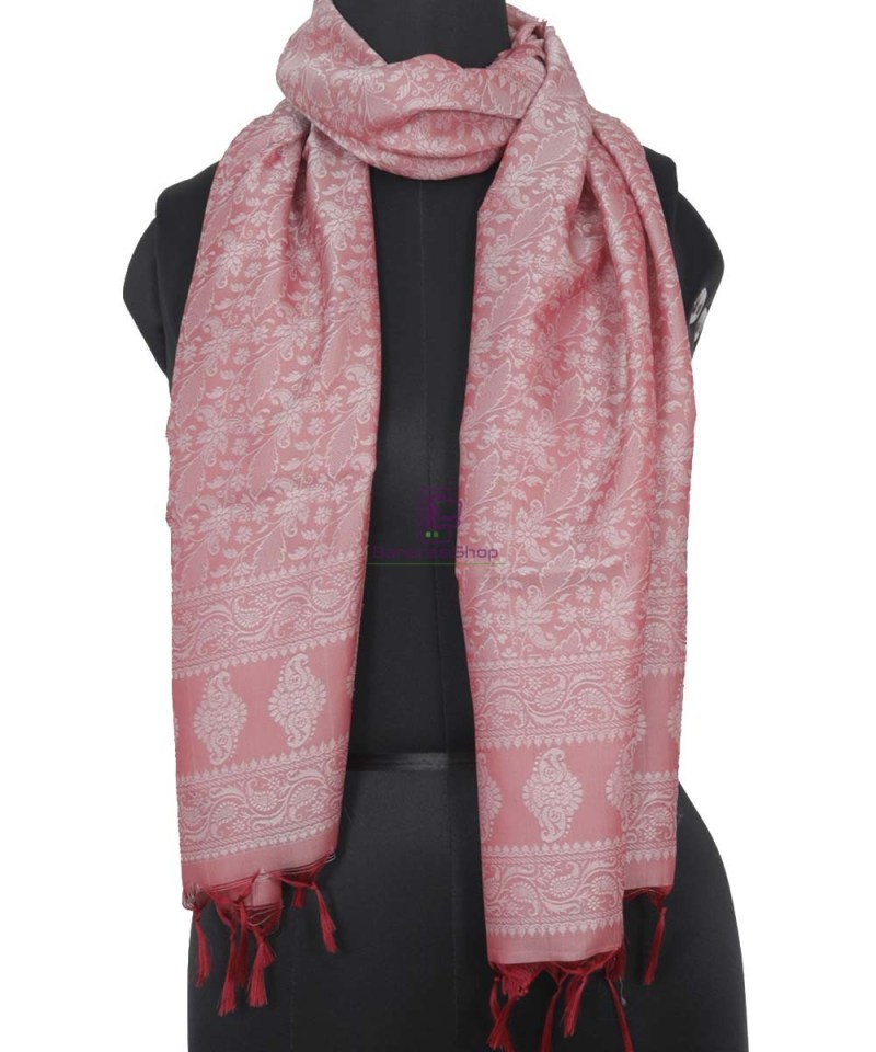 Handloom Banarasi Tanchoi Rose Pink Stole 1