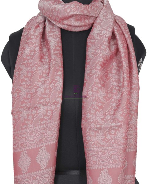 Handloom Banarasi Tanchoi Rose Pink Stole 4