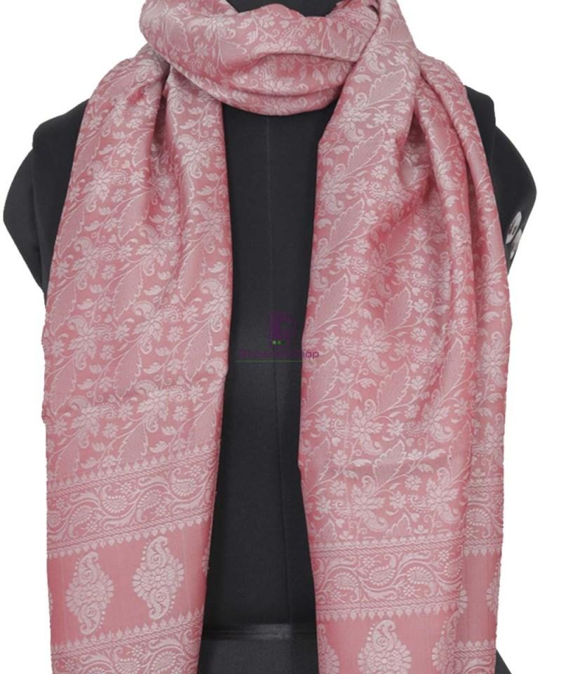 Handloom Banarasi Tanchoi Rose Pink Stole 2