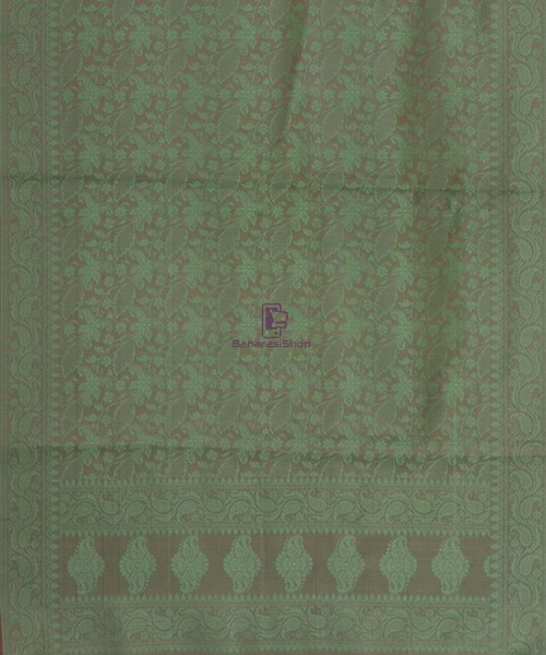 Handloom Banarasi Tanchoi Moss Green Stole 5