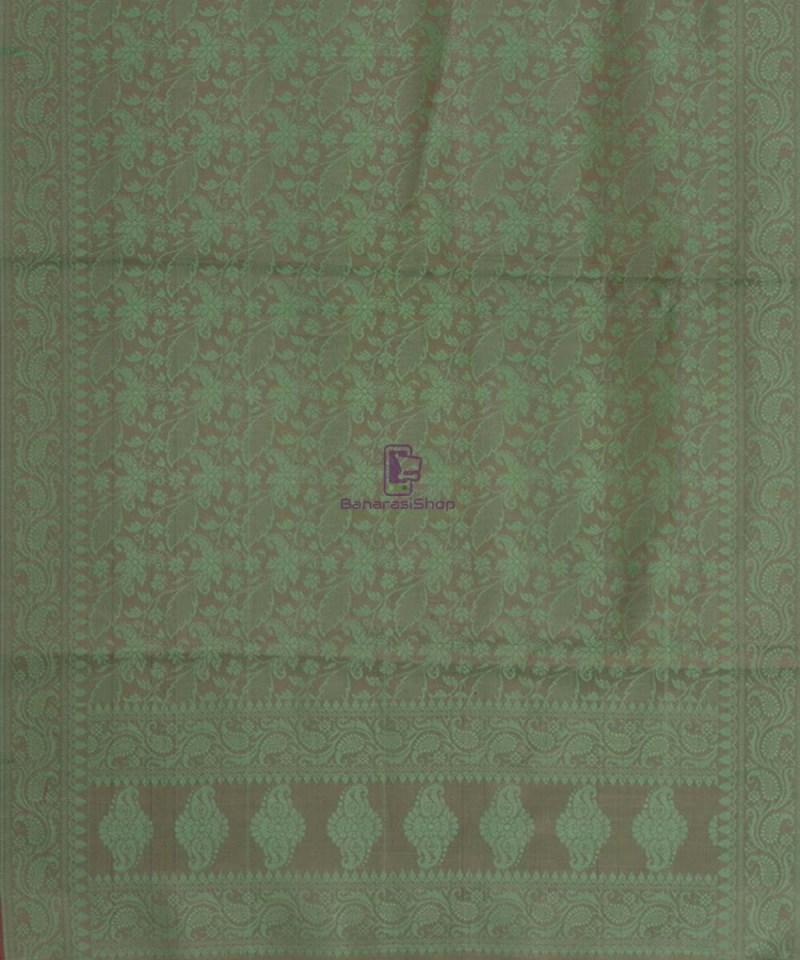 Handloom Banarasi Tanchoi Moss Green Stole 3