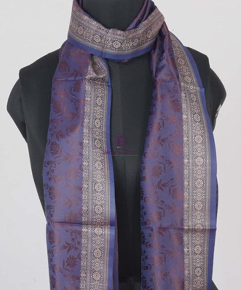 Handloom Banarasi Tanchoi Violet Stole 2