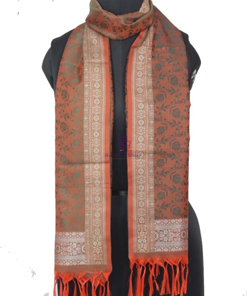 Handloom Banarasi Tanchoi Fire Orange Stole 1