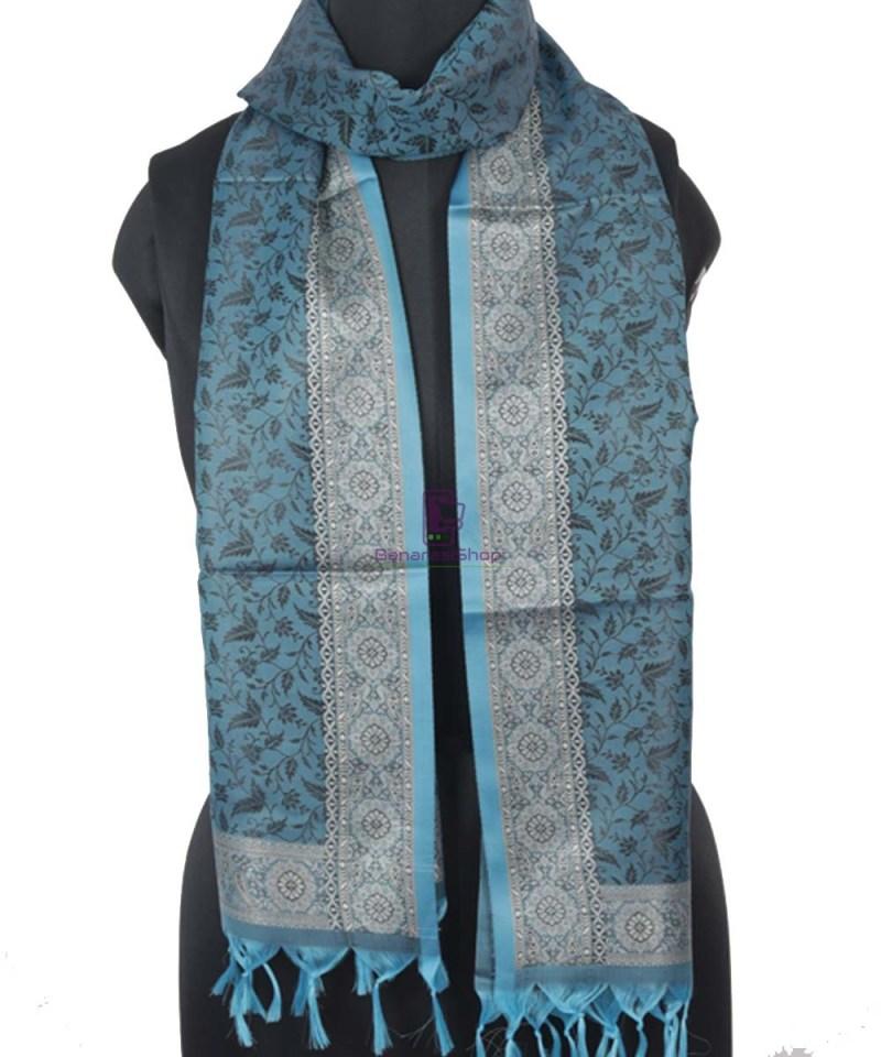 Handloom Tanchoi Banarasi Lapis Blue Stole 1