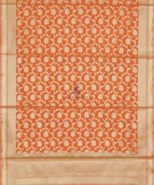 Banarasi Handloom Orange Tangerine Dupatta 5