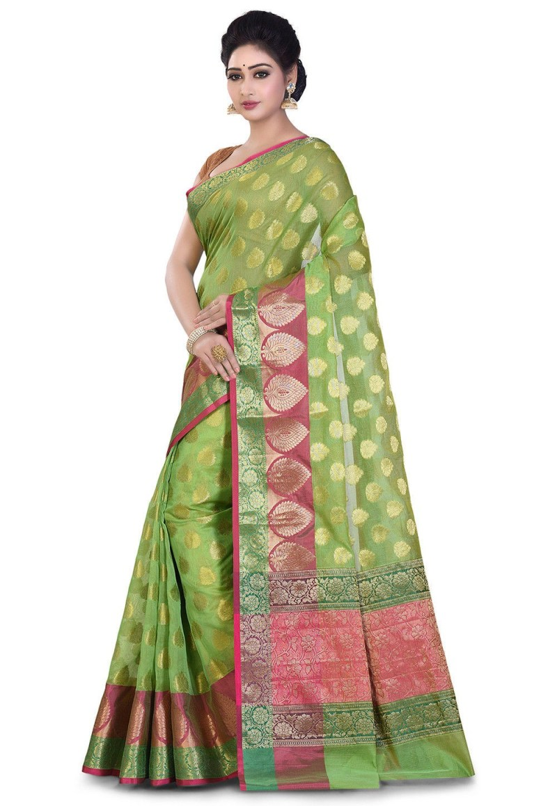 Banarasi Cotton Silk Saree in Light Green 4