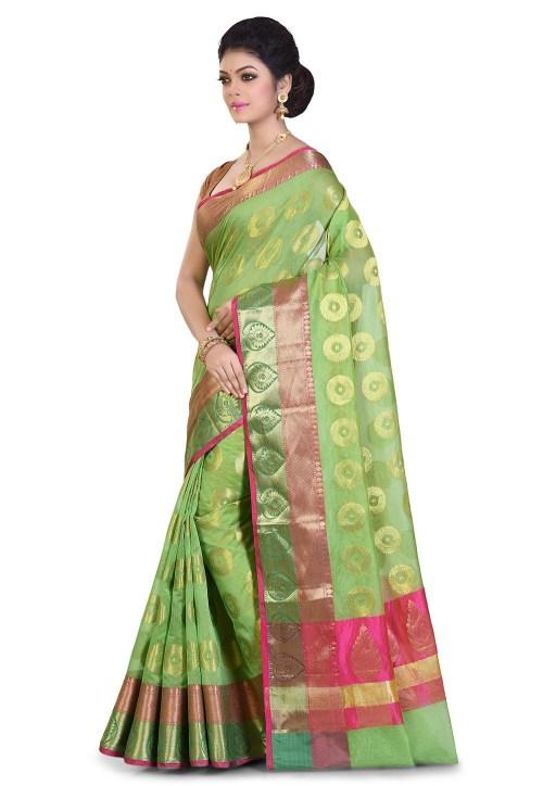 Banarasi Cotton Silk Saree in Light Green 7