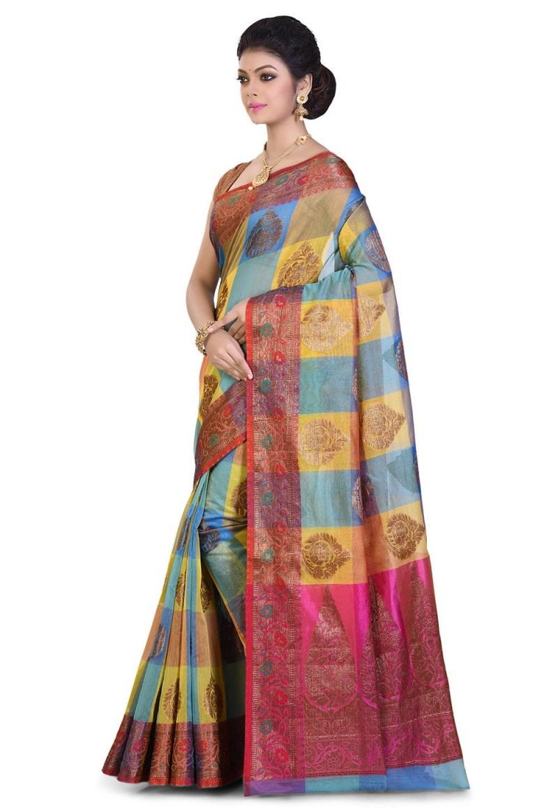 Banarasi Cotton Silk Saree in Multicolor 4