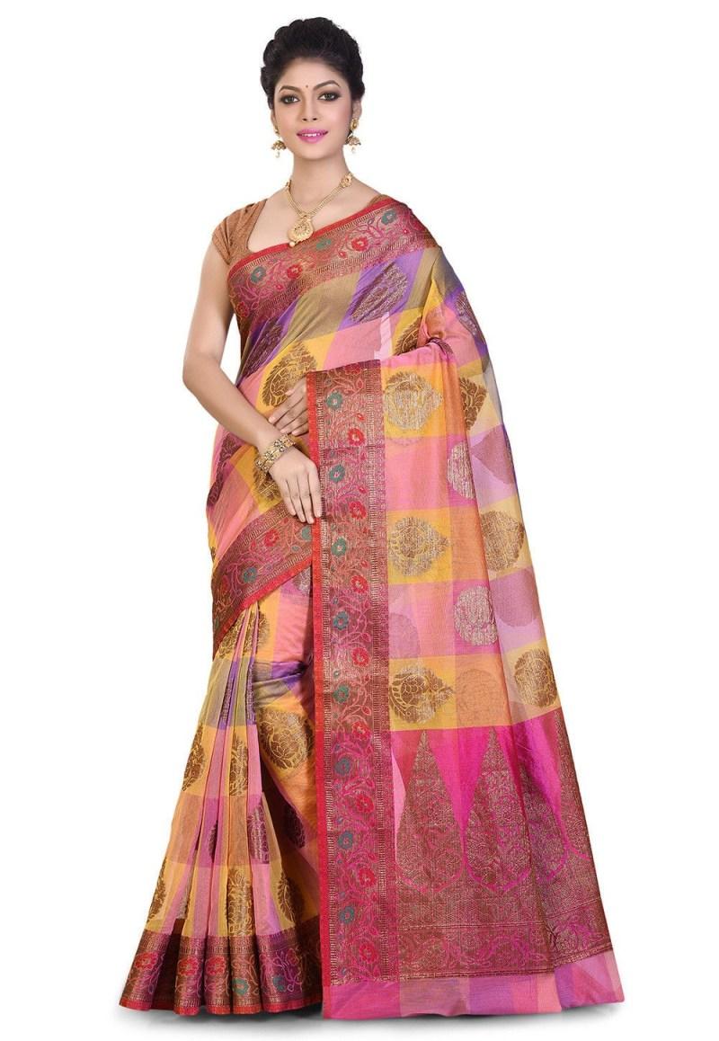 Banarasi Cotton Silk Saree in Multicolor 1