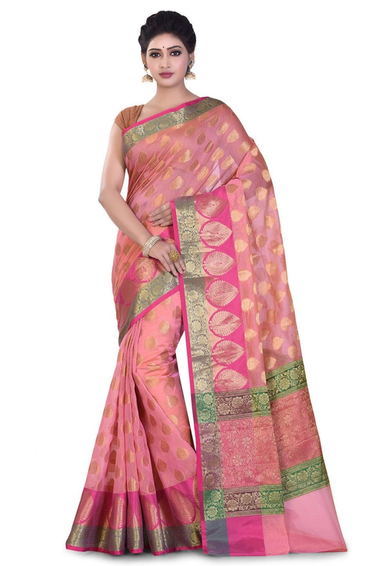 Banarasi Cotton Silk Saree in Peach Pink 1