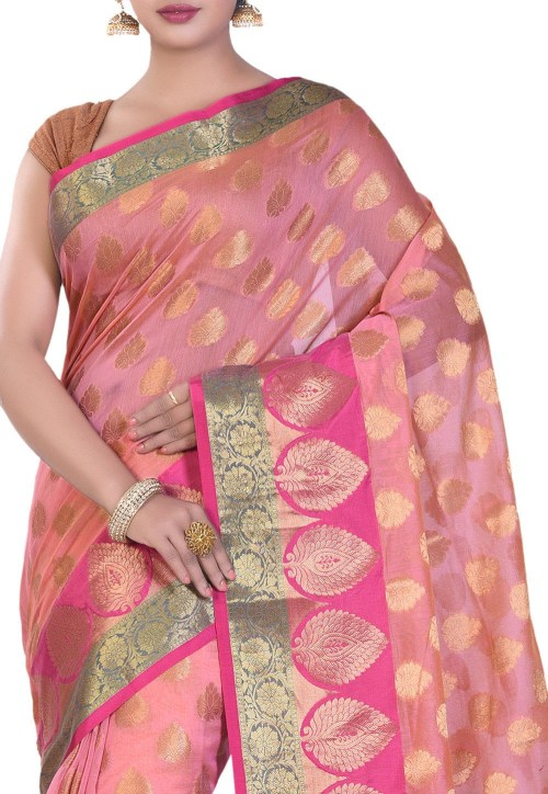 Banarasi Cotton Silk Saree in Peach Pink 5