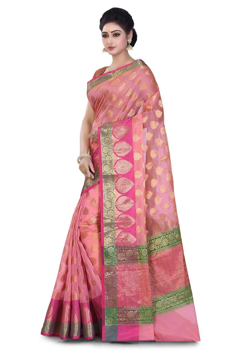 Banarasi Cotton Silk Saree in Peach Pink 4