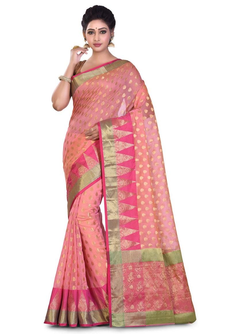 Banarasi Cotton Silk Saree in Peach 1