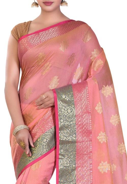 Banarasi Cotton Silk Saree in Peach 5