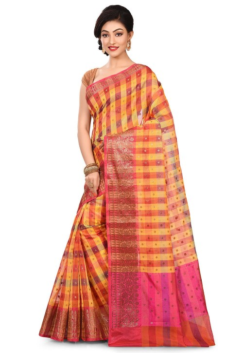 Banarasi Cotton Silk Saree in Multicolor 7