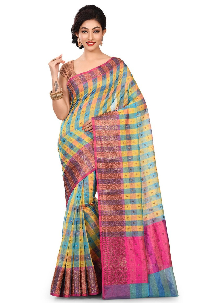 Banarasi Cotton Silk Saree in Multicolor 1