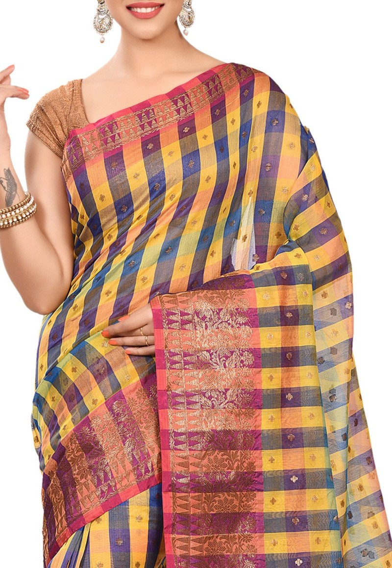Banarasi Cotton Silk Saree in Multicolor 2