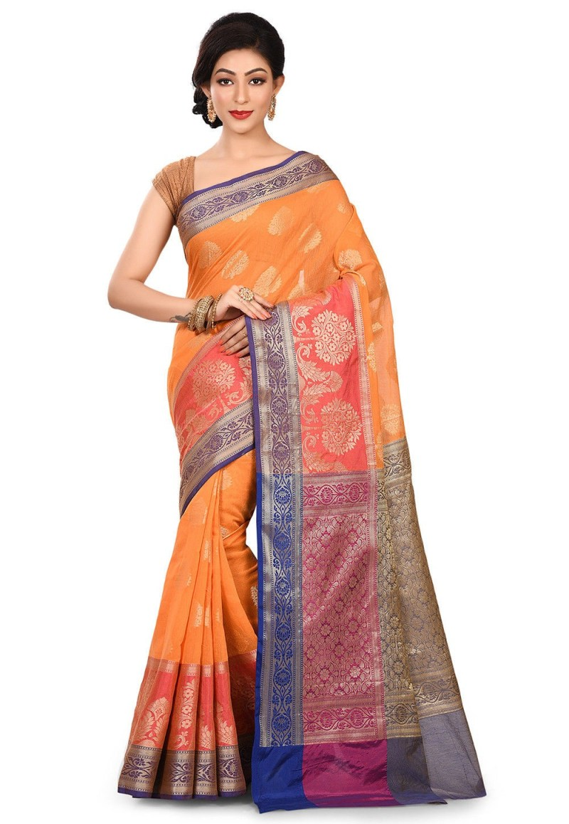 Banarasi Cotton Silk Saree in Orange 1